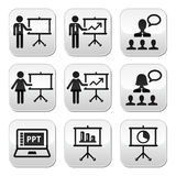 Business presentation, lecture, speech vector buttons. Businessman, businesswoman doing a presentation on whiteboard, in power point buttons set isolated on Stock Photos