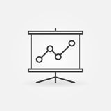 Business presentation line icon. Vector minimal business growing chart presentation symbol in thin line style Royalty Free Stock Image