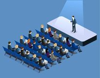 Business presentation meeting in conference hall. People listen to speakers. Stock Image