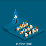 Business presentation meeting in conference hall. People listen to speakers. Flat 3D illustration Stock Images
