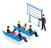 Business presentation meeting in an office around a table. Business meeting in an office Business presentation meeting in an office around a table. Isometric Stock Photos