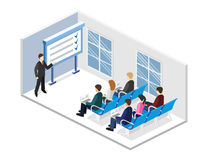 Business presentation meeting in an office around a table. Business meeting in an office Business presentation meeting in an office around a table. Isometric Stock Image