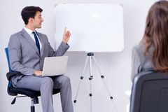 The business presentation in the office with man and woman. Business presentation in the office with men and woman Royalty Free Stock Photography
