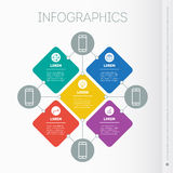 Business presentation with 5 options. Web Template of mind map, Royalty Free Stock Photography