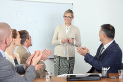 Business presentation - people applauding Royalty Free Stock Photography
