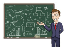 Business presentation. Business school / Learning businessman, pointing at the black board Stock Photos