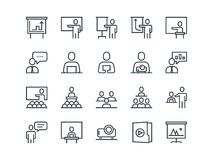 Business presentation. Set of outline vector icons.  Royalty Free Stock Photo
