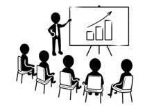 Business presentation: Speaker in front of spectators and rising chart icon royalty free illustration