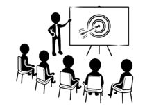 Business presentation: Speaker in front of spectators and target icon stock illustration
