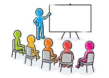 Business presentation: Speaker with blank board and spectators royalty free illustration