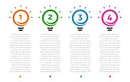 Business presentation, table with 4 lightbulbs timeline. Options number, ideas logo, steps icons. Vector Infographic. Element Royalty Free Stock Image