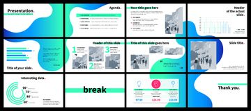 Business presentation template with green and blue gradient flui Royalty Free Stock Photography