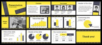 Business presentation template in yellow and grey on white background. Design of a business presentation template in yellow and grey. Vector set of infographic stock illustration