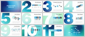 Business presentation templates. Vector infographic elements for company presentation slides, corporate annual report, marketing flyers, leaflets and brochures Stock Images