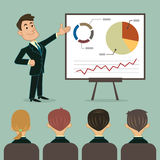 Business presentation to audience. Vector illustration