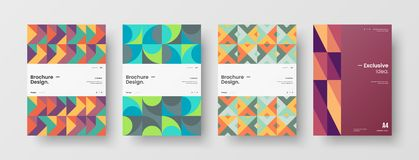Free Business Presentation Vector A4 Front Page Mock Up Set. Corporate Report Cover Abstract Geometric Design Layout Bundle. Royalty Free Stock Photos - 164481708