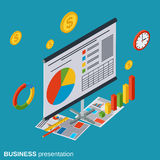 Business presentation vector concept. Business presentation flat isometric vector concept illustration Stock Photography