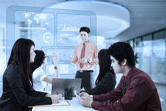Business presentation and virtual chart Royalty Free Stock Photo