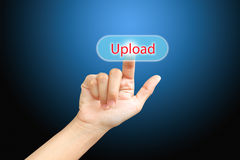 Business   press finger on  upload button Royalty Free Stock Images