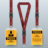 Business press pass id card lanyard badges realistic vector mock up isolated. Holder and lanyard, identity card for security to conference illustration Royalty Free Stock Photo