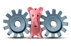 Business Pressure. And financing squeeze concept as a group of two gears or cog wheels putting the screws on a savings piggy bank as a metaphor for debt crisis Stock Images