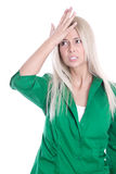 Business pressure: frustrated pretty young woman in green blouse Stock Images