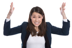 Business: pretty woman excited with hands in the air isolated on Stock Photos