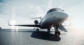 Free Business Private Jet Airplane Parked At Airfield And Ready For Flight. Luxury Tourism And Business Travel Transportation Royalty Free Stock Images - 158852899