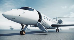 Free Business Private Jet Airplane Parked At Airfield And Ready For Flight. Luxury Tourism And Business Travel Transportation Royalty Free Stock Photo - 158852915