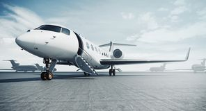 Free Business Private Jet Airplane Parked At Airfield And Ready For Flight. Luxury Tourism And Business Travel Transportation Royalty Free Stock Photos - 158852948
