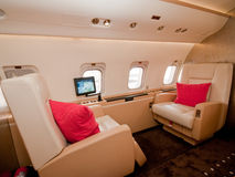 Business Private Plane at Singapore Airshow 2010. The interior of the Bombardier Global 5000 business jet at the Singapore Airshow 2010 stock photo