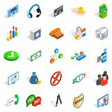 Business problem icons set, isometric style. Business problem icons set. Isometric set of 25 business problem vector icons for web isolated on white background Royalty Free Stock Photos