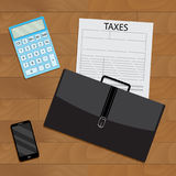 Business procedure calculation of taxation top view. Vector tax accounting, tax form and finance audit illustration Royalty Free Stock Images