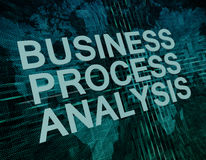 Business Process Analysis. Text concept on green digital world map background Stock Photos
