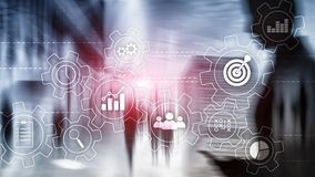 Business process automation concept. Gears and icons on abstract background. Business process automation concept. Gears and icons on abstract background royalty free stock image