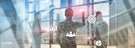 Business process automation concept. Gears and icons on abstract background. royalty free stock images