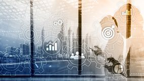 Business process automation concept. Gears and icons on abstract background.  stock image