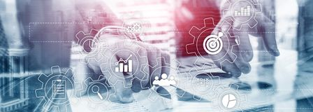 Business process automation concept. Gears and icons on abstract background.  stock photography