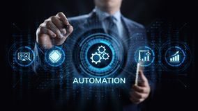 Business process automation industrial technology innovation optimisation concept. royalty free stock images