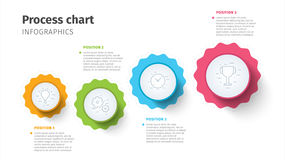 Business process chart infographics with step circles. Circular corporate timeline graphic elements. Company presentation slide te. Mplate. Modern vector info Royalty Free Stock Photo