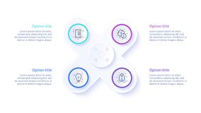Business process chart infographics with 4 step segments. Circular corporate timeline infograph elements. Company presentation stock illustration
