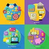 Business process concept. Of banking e-commerce finance icons set vector illustration Royalty Free Stock Image