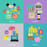Business process concept. Of banking e-commerce shopping finance flat icons set vector illustration Royalty Free Stock Photo