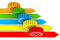 Business process concept. Gears over Arrows Stock Photo