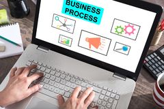 Business process concept on a laptop screen. Business process concept shown on a laptop screen royalty free stock photography