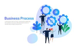 Business Process. Flat design concept for team building. Hands with gears. cooperation working together in company Stock Image