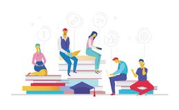 Business process - flat design style colorful illustration. With set of icons on white background. A composition with people sitting on big books, working on Royalty Free Stock Photo