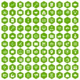 100 business process icons hexagon green Royalty Free Stock Photos