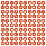 100 business process icons hexagon orange Royalty Free Stock Image