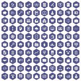 100 business process icons hexagon purple. 100 business process icons set in purple hexagon isolated vector illustration Stock Image